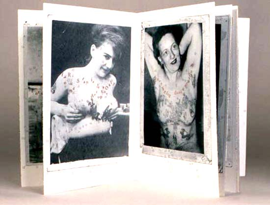 Letterpress-printed plates from photographs of tattooed women (breasts).